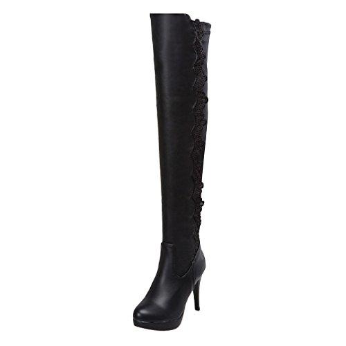 YE Damen High Heels Plateau Overknee Stretch Langschaft Stiefel mit Reißverschluss Designer Fashion Winter Schuhe