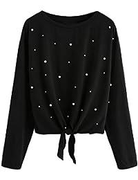 Lonshell Damen Pullover Übergröße Perle Bluse Shirt Hoodie Sweatshirt Tops W97