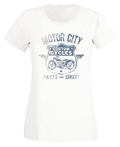 Motor City Donna T-shirt Bianco Cotone Girocollo Maniche Corte White Women's T-shirt