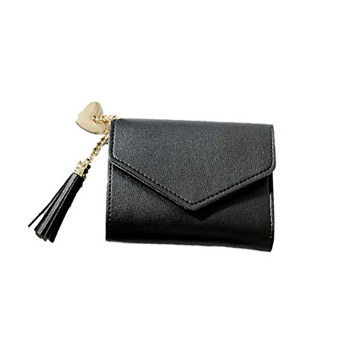 TENDYCOCO Quaste Geldbörse Kleine Tragbare Tasche Einfarbig Brieftasche PU Card Pack Pocket für Frauen (Schwarz) -
