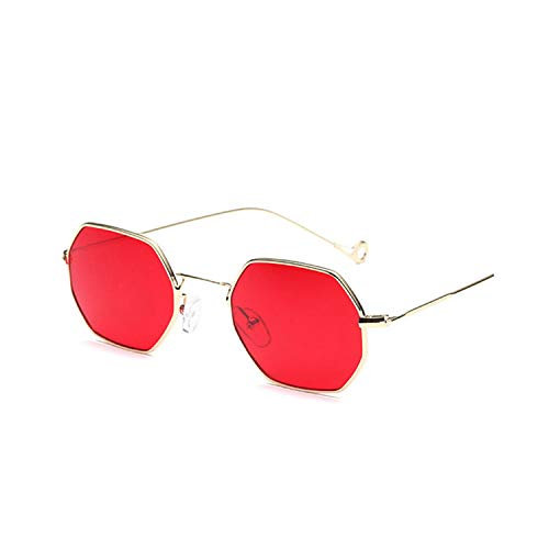 Sportbrillen, Angeln Golfbrille,Polygonal Red Sunglasses Women Men Steampunk Style Sun Glasses Vintage Female Metal Frame Clear Lens Retro Glasses as picture NO 7 Pink