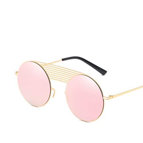 YWYU Trend Edelstahl New Round Frame Sonnenbrillen Unisex-Metall-Sonnenbrillen Fahren weiche leichte Sonnenbrillen (Farbe : F)