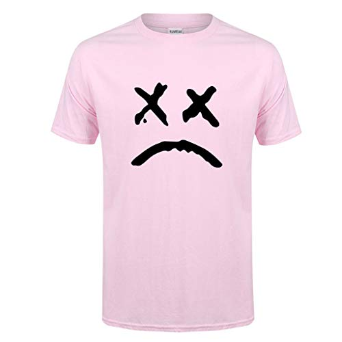 ESAILQ Herren Frühling Sommer Lässige Mode Druck Oansatz Kurzarm Baumwolle T-Shirt(XX-Large,Rosa)