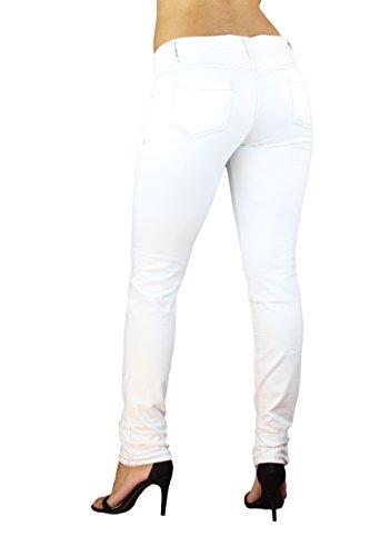 Damen Stretch Hose Jeans-Look Röhre Skinny Leggings Leggins Treggings Jeggings 34 - 42 Weiß