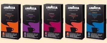 Caffè lavazza mix di 100 capsule lavazza compatibili nespresso - miscele: armonico (20pz), delicato (20pz), vigoroso (20pz), deciso (20pz), decaffeinato (20pz).