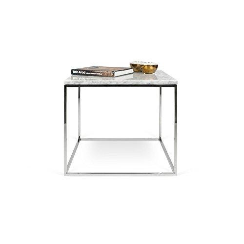 Paris Prix - Temahome - Table Basse Gleam 50cm Marbre Blanc & Métal Chromé