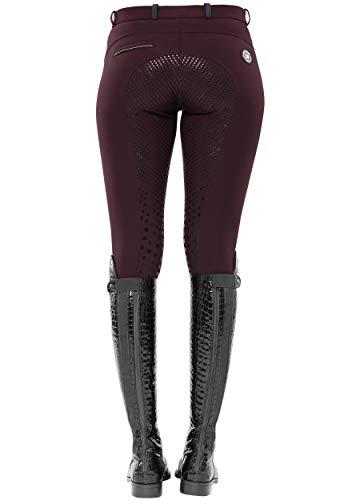 SPOOKS Damen Reithose Vollbesatz, leichte Damenreithose Reithosen Turnierreithose Vollbesatzreithose - Sue Full Grip - Burgundy XL