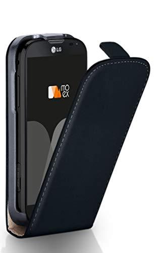 moex® Flip Case mit Magnetverschluss [Rundum-Schutz] passend für LG L90 | 360° Handycover aus feinem Premium Kunst-Leder, Schwarz (Lg L90 Handy-hülle)