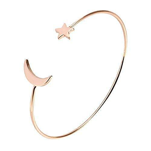 Bracelet Simple de Mode de Manchette de découpage Ouvert Simple avec la décoration d'étoile de Lune pour des Femmes Filles.(Rose Gold)