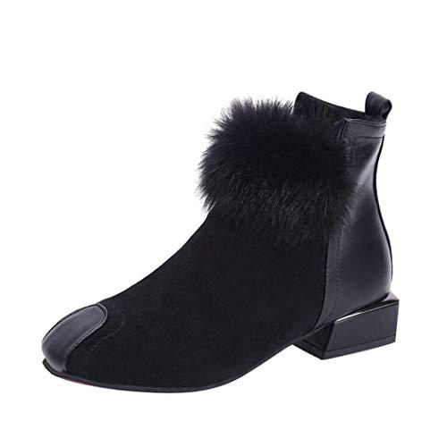 Tobillo Botas de invierno Mujer Zapatos Martin, piel de gamuza del desierto Punta de acero Cremallera...