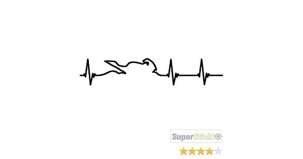 SUPERSTICKI Herzschlag Bike ca 20cm Auto Aufkleber Bike Motorrad Fun Tuning  Decal aus Hochleistungsfolie Aufkleber Autoaufkleber Tuningaufkleber