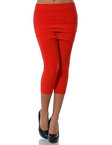 Damen Leggings mit Mini Rock (Capri) No 13607, Farbe:Rot;Größe:One Size
