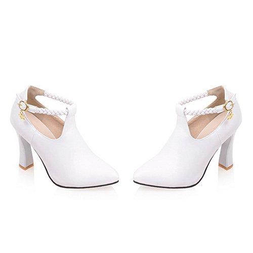 VogueZone009 Femme Boucle Pointu à Talon Haut Pu Cuir Tricotage Chaussures Légeres Blanc
