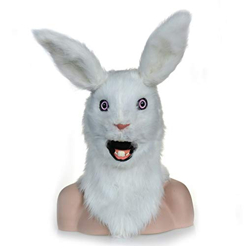 Mover Kostüm - SYTOYS-special masks Moving Mouth Faux Fur Kostüm for Erwachsene Mask-Mouth Mover White Rabbit Mask Plush Mask (Color : White)