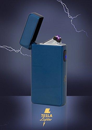 Tesla-Lighter T13 Lichtbogen Feuerzeug Cigar & Cigarette Edition Double-Arc elektronisch wiederaufladbar. Aufladbar per USB mit Strom ohne Gas und Benzin. Mit Ladekabel in edler Geschenkverpackung Blau