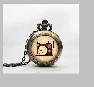 Nähmaschine Anhänger Taschenuhr, Nähmaschine Halskette Pocket Watch Charm, Vintage, Schneiderin Anhänger Taschenuhr Glass Tile Schmuck, Glas Sew Uhr, Steampunk potphoto