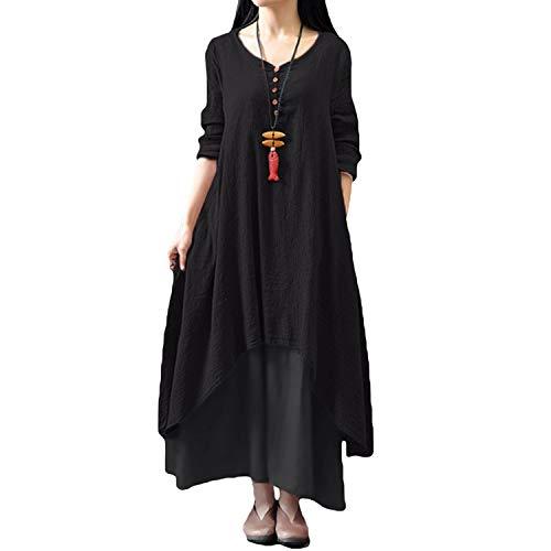 Romacci Damen Beiläufige Lose Kleid Fest Langarm Boho Lang Maxi Kleid S-5XL Schwarz/Weiß/Rot/Gelb, Schwarz, XXL