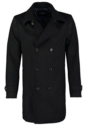 Pier One Wollmantel Herren in Schwarz - Mantel für Männer aus Wolle für den Winter, S