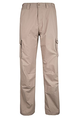Mountain Warehouse Trek Men's Long Length Trousers - Lightweight & Fast Drying, Shrink Resistant - Great Walking Trousers in Hot Climates & Humid Temperatures Dark Beige 32