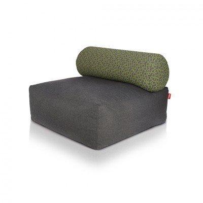 FATBOY® TSJONGE - Outdoorsessel in dunkelgrau mit Rückenlehne grüne Kreise