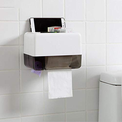 Toilettenpapier Halterung Rollenhalter Rollenhalter Wandhalterung Bad Selbstklebender Gewebespender Toilettenpapier Box Halter Handy Ipad Rack RegalSchwarz -