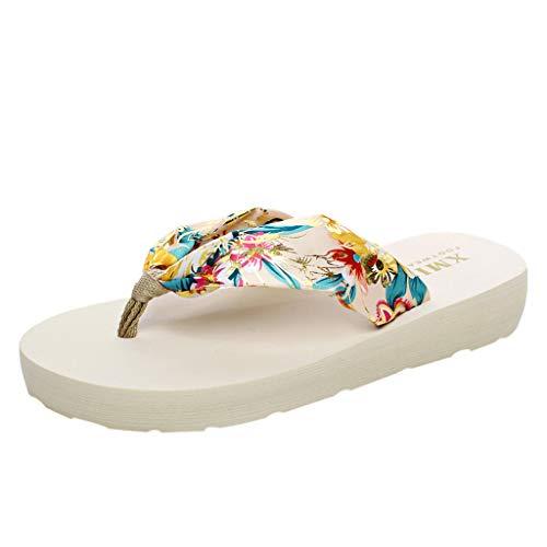 Makefortune-Damenschuhe Damen Blumensommer Satin Keil Flip Flops Elegante Damen Böhmische Sandalen Flache Schuhe mit niedrigen Absätzen für den Außenbereich - Ecco Satin