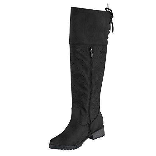 SHE.White Damen Boots Plateau Blockabsatz Stiefel Retro Römische Closed Toe Stiefeletten Schnürstiefeletten Übergrößen Mittlere Spitze Stiefel mit Reißverschluss 35-43