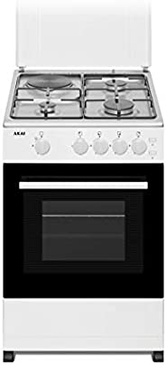 Akai 50 X 50 cm, 3 Gas + 1 Hotplate and Gas Oven, Free standing Cooker, Stainless Steel Top, White Body - CRMA