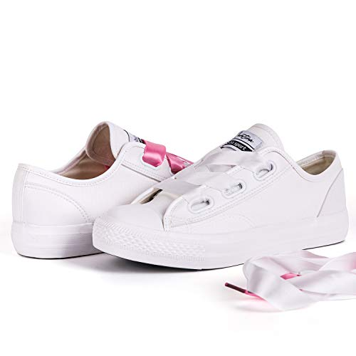 409b2f5e0a171 Hotroad Women Fashion Canvas Shoes White Women s Sneakers Casual Low Top  Sneaker Walking Ladies Tennis Shoes