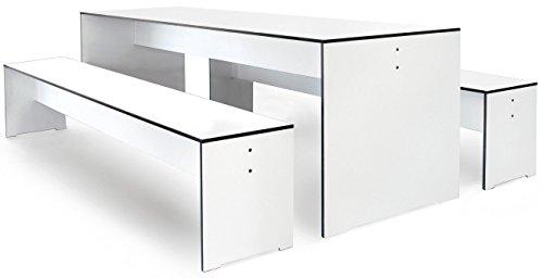 Conmoto Riva - Kombi S / 180 - Tisch und 2 Bänke - weiss - (ohne Auflagen)