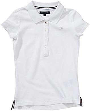 TOMMY HILFIGER - Polo de manga corta Girls Fitted, chica, Color: blanco