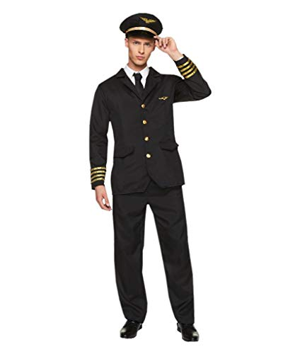 Karnival 82237Stecker Airline Pilot Kostüm, Herren, Schwarz, Größe -