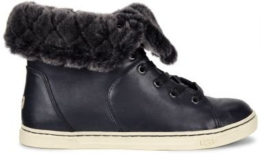 ugg-australia-womens-croft-luxe-quilt-black-leather-lace-boots-in-size-36-black