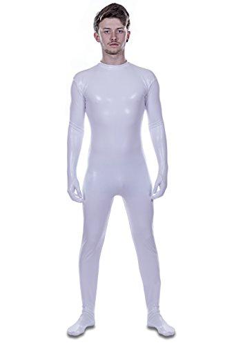 Deluxe Edition: Weiß Metallic Headless Lycra Catsuit von dehnbar Farben (Männer: (Halloween Kostüm Spaceman)