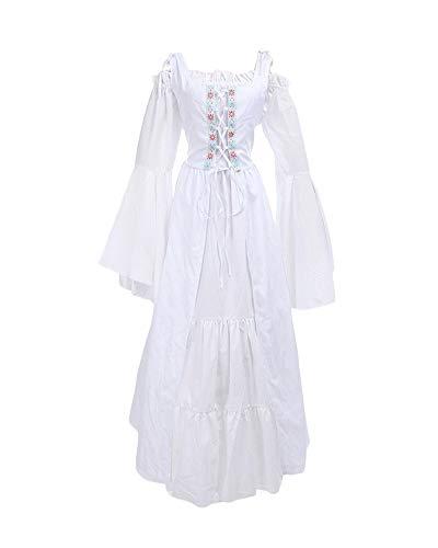 DianShaoA Damen Mittelalter Kleider Viktorianischen Königin Kleid Cosplay Kostüm Langarm Kleid-Gothic Jahrgang Prinzessin Renaissance Bodenlänge Weiß 5XL
