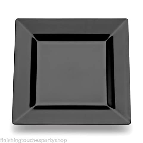 60 Disposable Plastic Black Square Buffet Side Plates 7