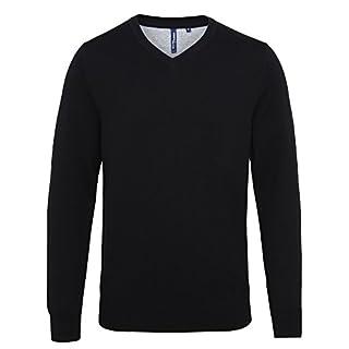 Asquith & Fox Men'S Cotton Blend V-Neck Sweater Size M Color Black