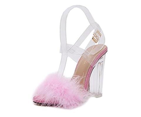 Beauqueen Plüsch Federn Knöchelriemen Breathable Transparente Gürtel Ferse Open-Toe Chunky High Heel Limited Edition Sandalen EU Größe 34-40 , pink , (Rosa Pebbled Leder)