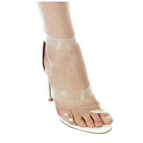 Angkorly damen Schuhe Pumpe - Stiletto - Offen - String Tanga - transparent Stiletto 11 CM Weiß