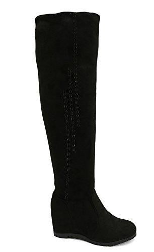 Ladies Black Soft Stretch Over The Knee High Ruched Wedge Boots Shoes Sizes 3-8 2