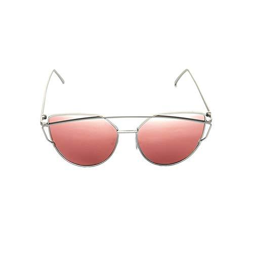 Klassische Sportsonnenbrille, Cat Eye Vintage Designer Rose Gold Mirror Sunglasses For Women Metal Reflective Flat Lens Sun Glasses Female NEW Silver Cherry Red