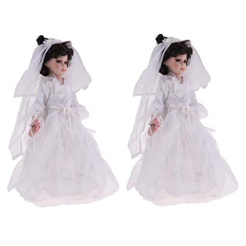 FLAMEER 2pcs 40cm Hübsche Porzellan Brautpuppe Mit Hochzeitskleid Menschen Zahlen Kinder Geschenk (Hübsches Puppen Porzellan)