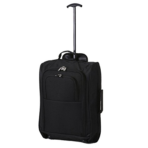 Eglemtek - trolley morbido bagaglio a mano - valigia trolley morbido in tessuto con rotelle girevoli - ( 54 x 35 x 19 cm ) - adatto per voli low cost - easyjet ryanair alitalia wizzair (nero)