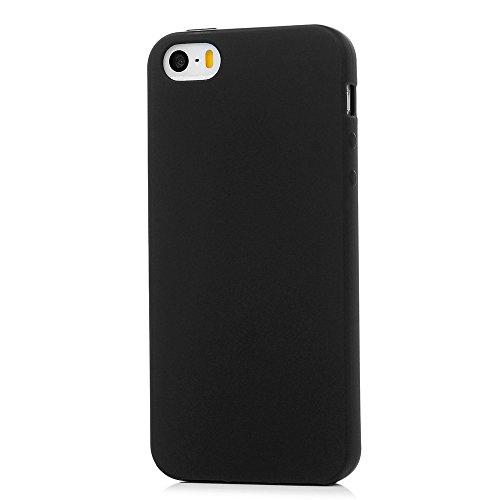 MAXFE.CO 2 x TPU Silikon Hülle für iPhone 5 5S SE Handyhülle Schale Etui Protective Case Cover Rück mit Schwarz + Gold Skin TPU Kantenschutz Einfarbig Design Schutzhülle Paket 1