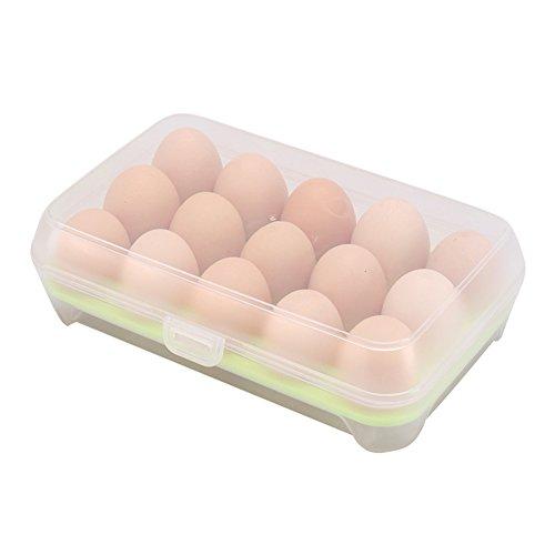 Shuda - Caja de Almacenamiento Multiusos con 15 hueveras para Bandeja de Huevos con Tapa para frigorífico, Cocina, Organizador de Utensilios (Transparente), plástico, Verde, 7 * 15 * 23cm