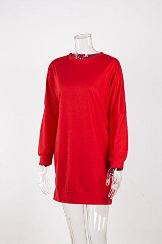 WanYang Donna Felpe Mini Vestito Inverno CaldoManiche Lunghe Pullover Mini Robe Camicia Casuale Moda Tops Rosso