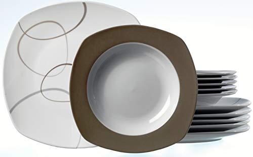 Ritzenhoff & Breker Tafelservice Alina Marron, 12-teilig, Porzellangeschirr Dekor Porzellan