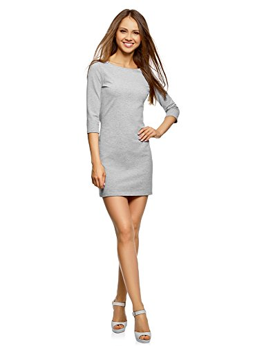 oodji Ultra Damen Jersey-Kleid Basic, Grau, DE 42 / EU 44 / XL
