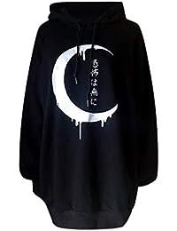 Reooly Popular Loose Gothic Punk Sudadera con Capucha de Manga Larga Pullover Top Sudadera Imprimir Cárdigan