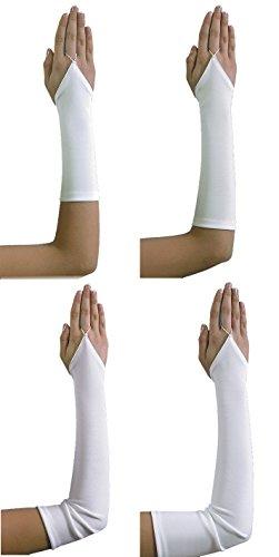 Schwarze Lycra Handschuhe Satin Lange (Fingerlose Brauthandschuhe Handschuhe Hochzeit, A1 45cm,)